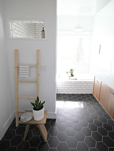 hexagon tile ideas for bathrooms