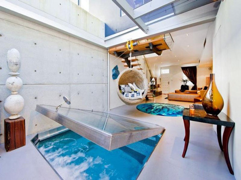 Cool Apartment With A Pool In Living Room Shelterness