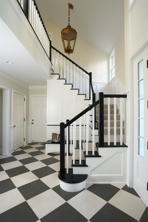 43 Cool Carpet Runners For Stairs To Make Your Life Safer   White Stairs With Grey Carpet   Top   Laminate Flooring Carpet   White Staircase   Grey Stripe   Dark Grey