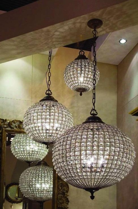 13 Ideas To Use Crystal Ball Chandeliers In Interior