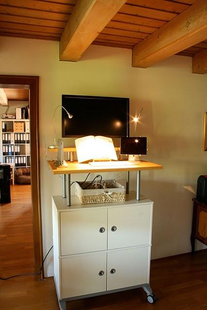 Diy Standing Desk Of Ikea Filing Cabinet Shelterness