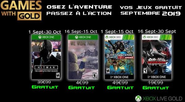 Game With Gold Septembre 2019