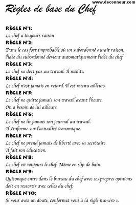 les 10 regles d or d un chef