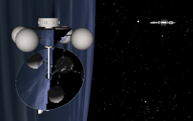 A four-barbell space colony with a large primary mirror, and a transport ship approaching to dock.