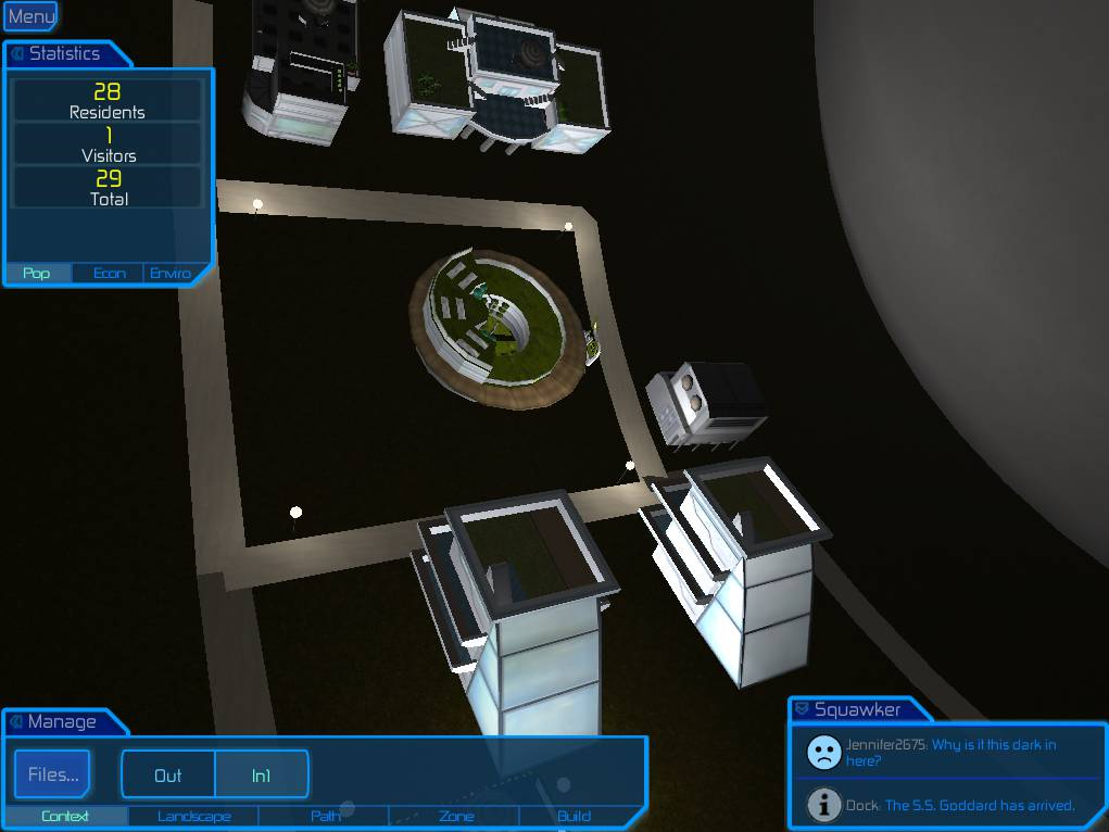Internal view of dimly-lit cylindrical space colony, with lamp posts