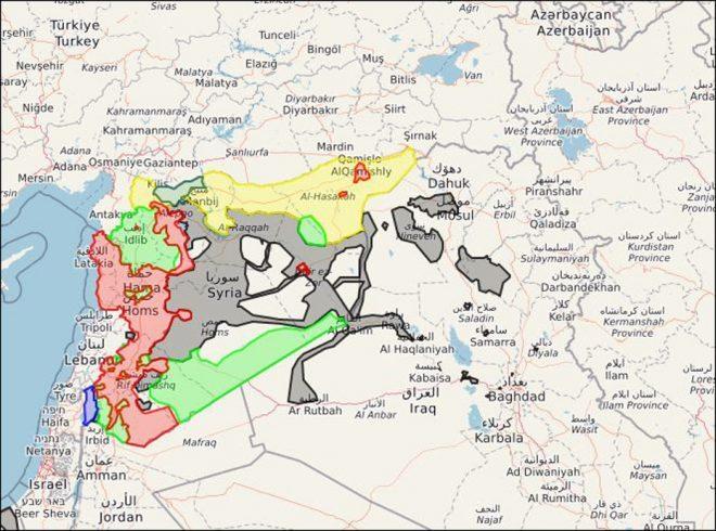 Suriye'de son durum… Haritada kırmızı ile gösterilen bölgelerde rejim güçleri hâkim. Yeşil, muhaliflerin denetimindeki bölgelere işaret ediyor. Gri renk IŞİD'in, sarı ise YPG'nin kontrolündeki bölgeleri gösteriyor.