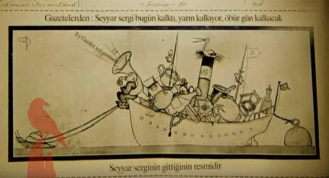 Akbaba Dergisi'nde geminin sefere çıkmasını eleştiren bir karikatür.
