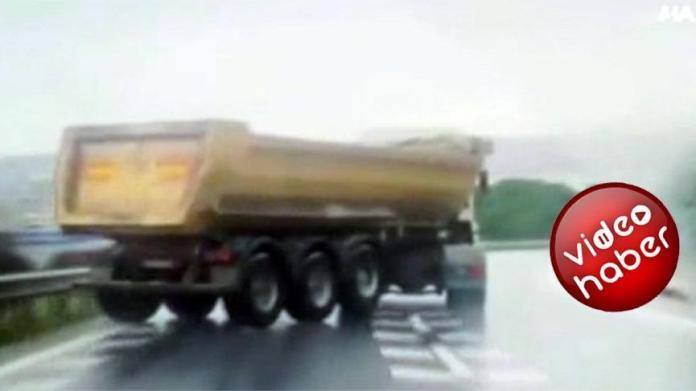 Drift yapan hafriyat kamyonu terör estirdi