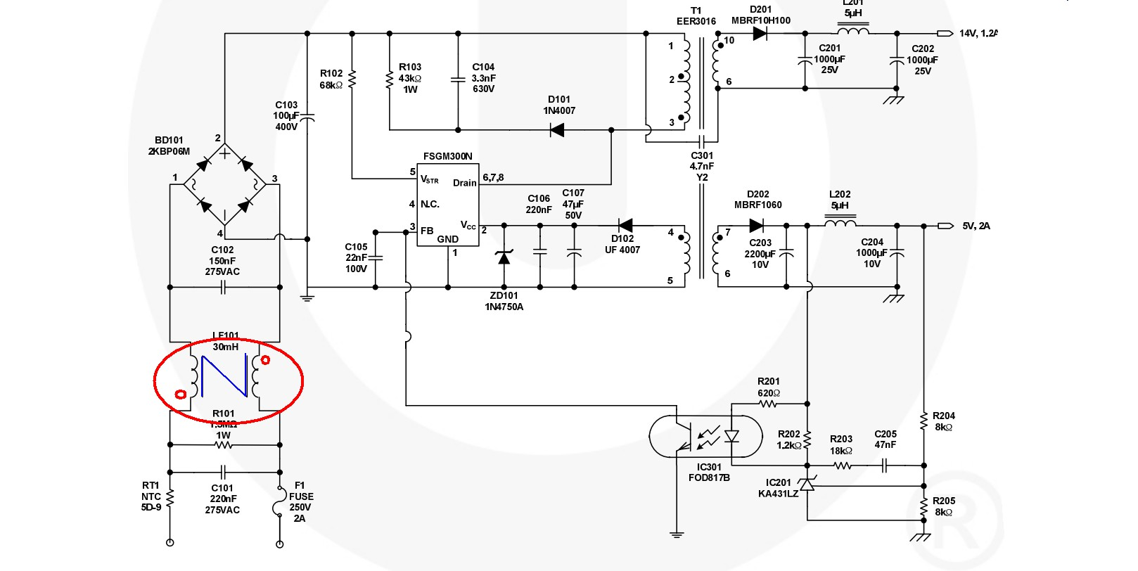 Bridge Rectifier Power Supply Schematic