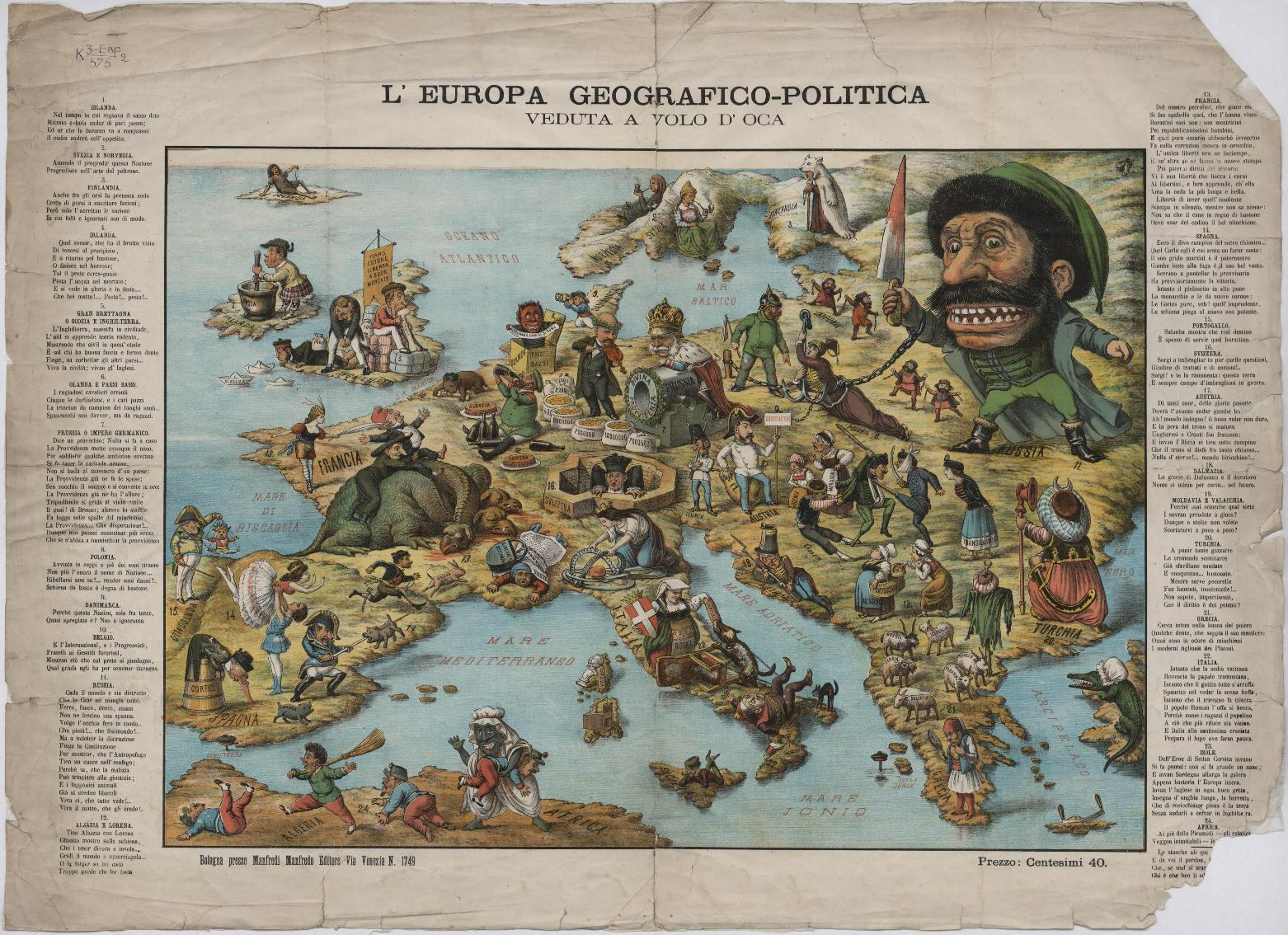 19th century   Context for this 1871 humorous map of Europe     L Europa geografico politica veduta a vola d oca