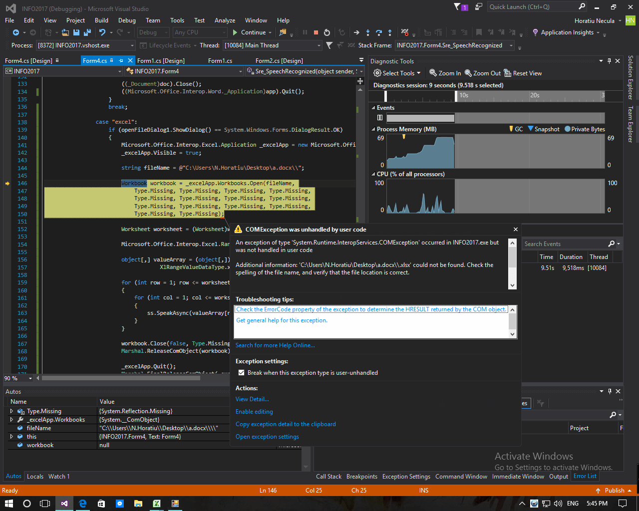Error Reading From Excel In C