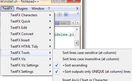 menu layout in n++