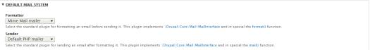 Mail System module default settings.