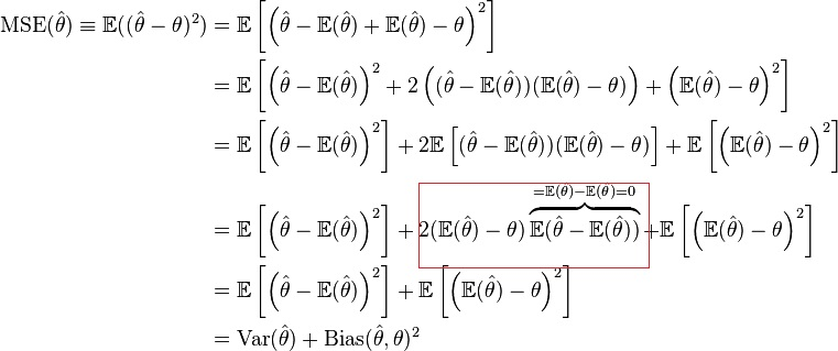 Mse Decomposition To Variance And Bias Squared Cross Validated