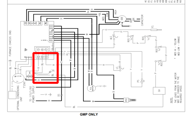 where should i connect my cwire on my old goodman unit