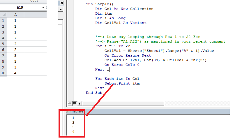 arrays use to get unique values for use within stack