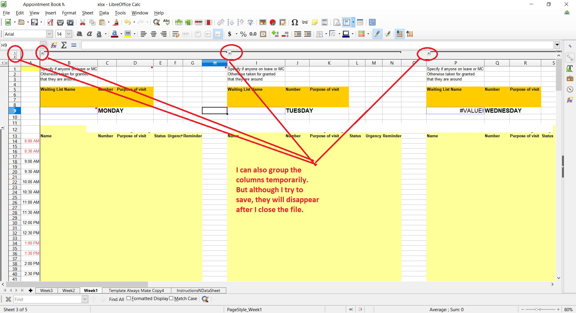 How Do I Preserve Column Grouping In Libreoffice Calc