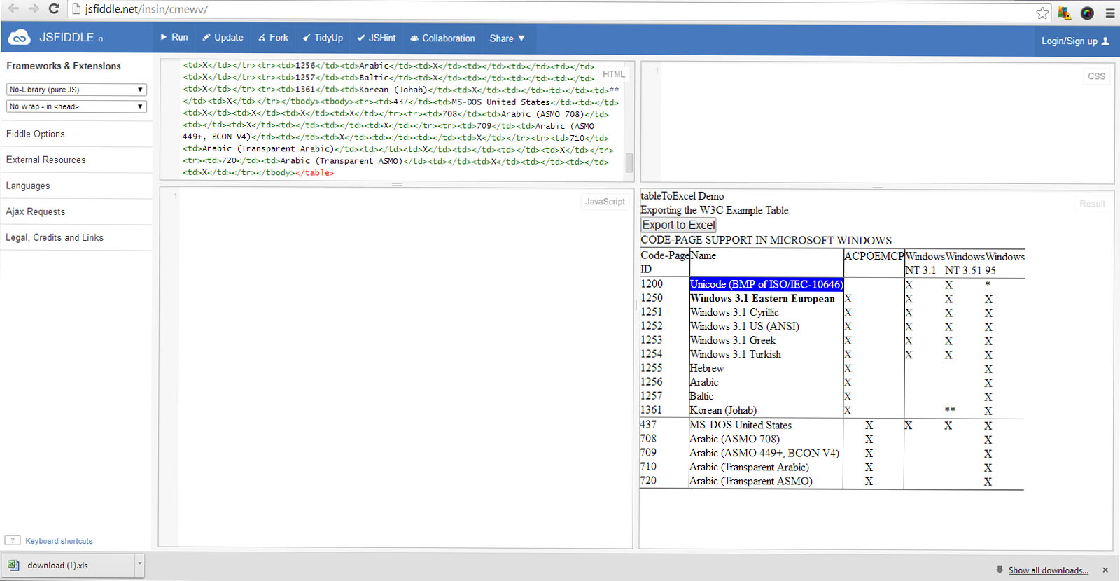 Export Html Table Data To Excel Using Javascript Jquery