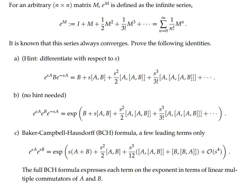 Linear Algebra Proving Bch Formula Mathematics Stack