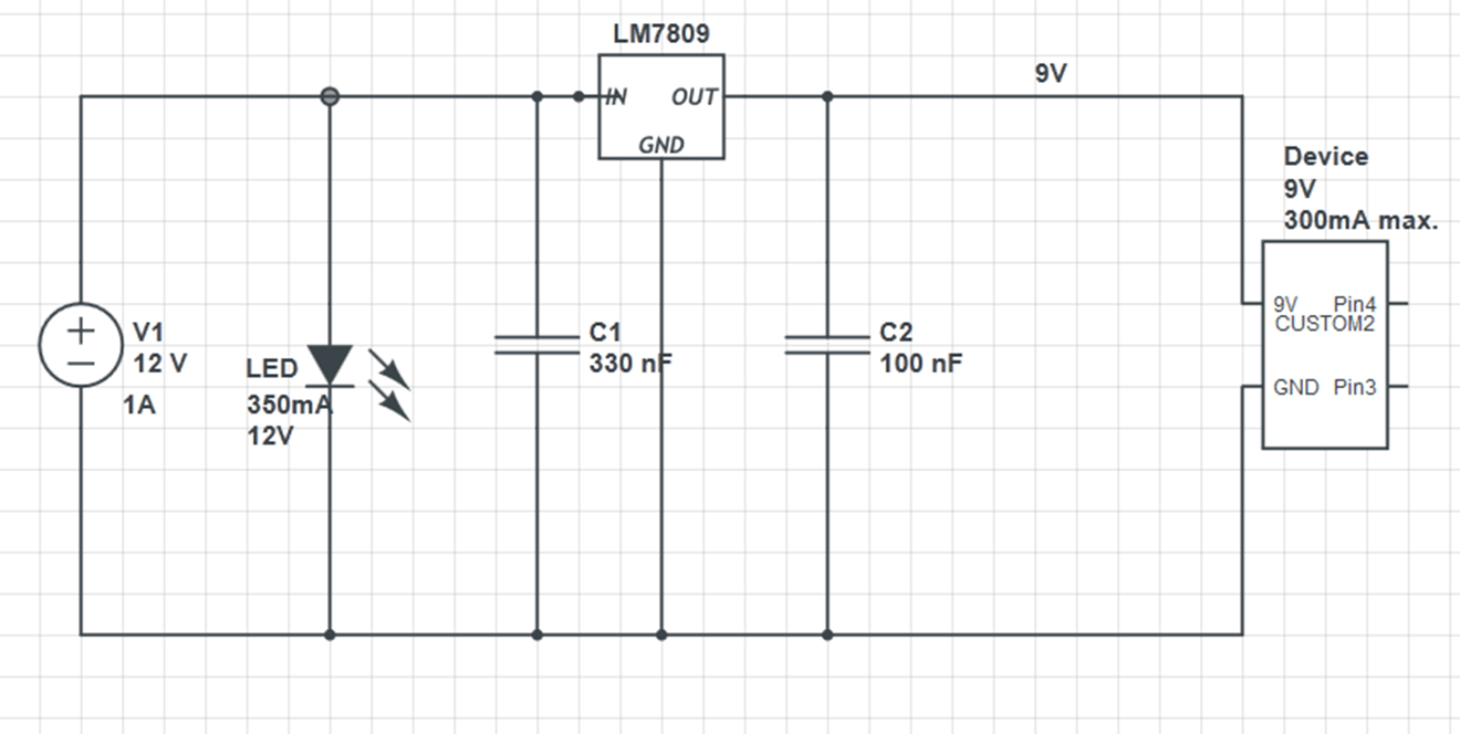 Powering A 12V And A 9V Device From Single Power Supply