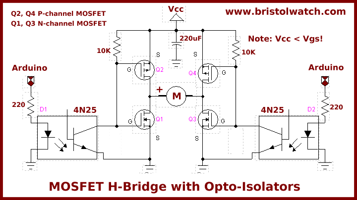 Will This Simple Four N-channel Mosfet H-Bridge Circuit