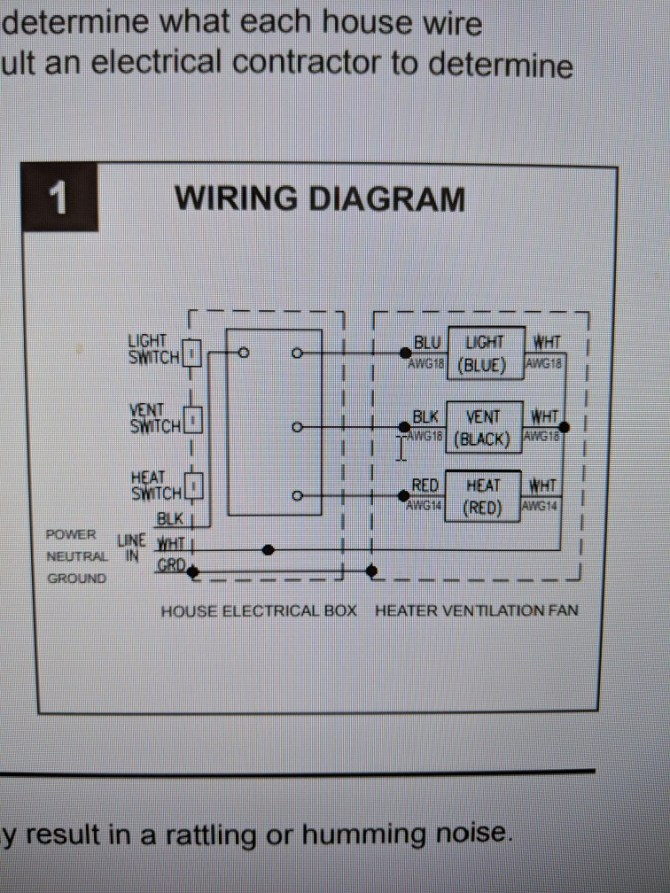 wiring a heater vent fan light for bathroom  home