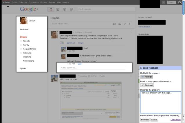 Google Feedback Tool Screenshot