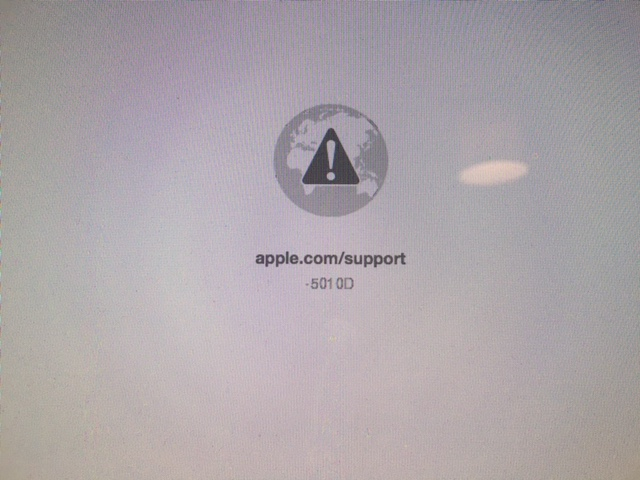 What does     501 0D    mean when trying to run the Apple Hardware Test     enter image description here  apple com support