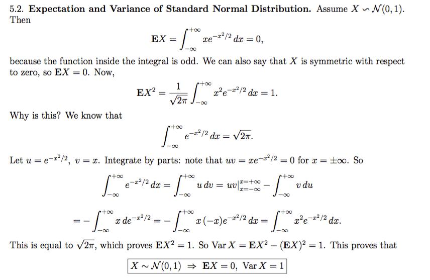 Integration Expectation Of A Standard Normal Random