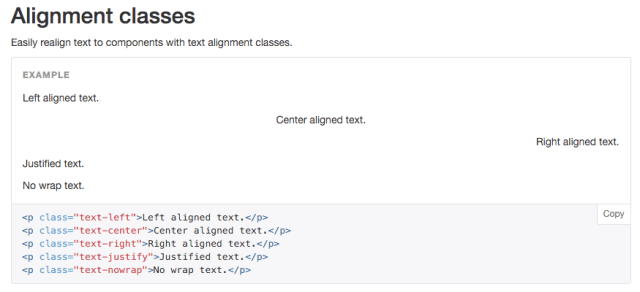Bootstrap 3 text align example
