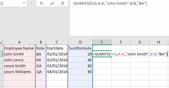 Execute Excel Sum Formula For Every Matching Value In
