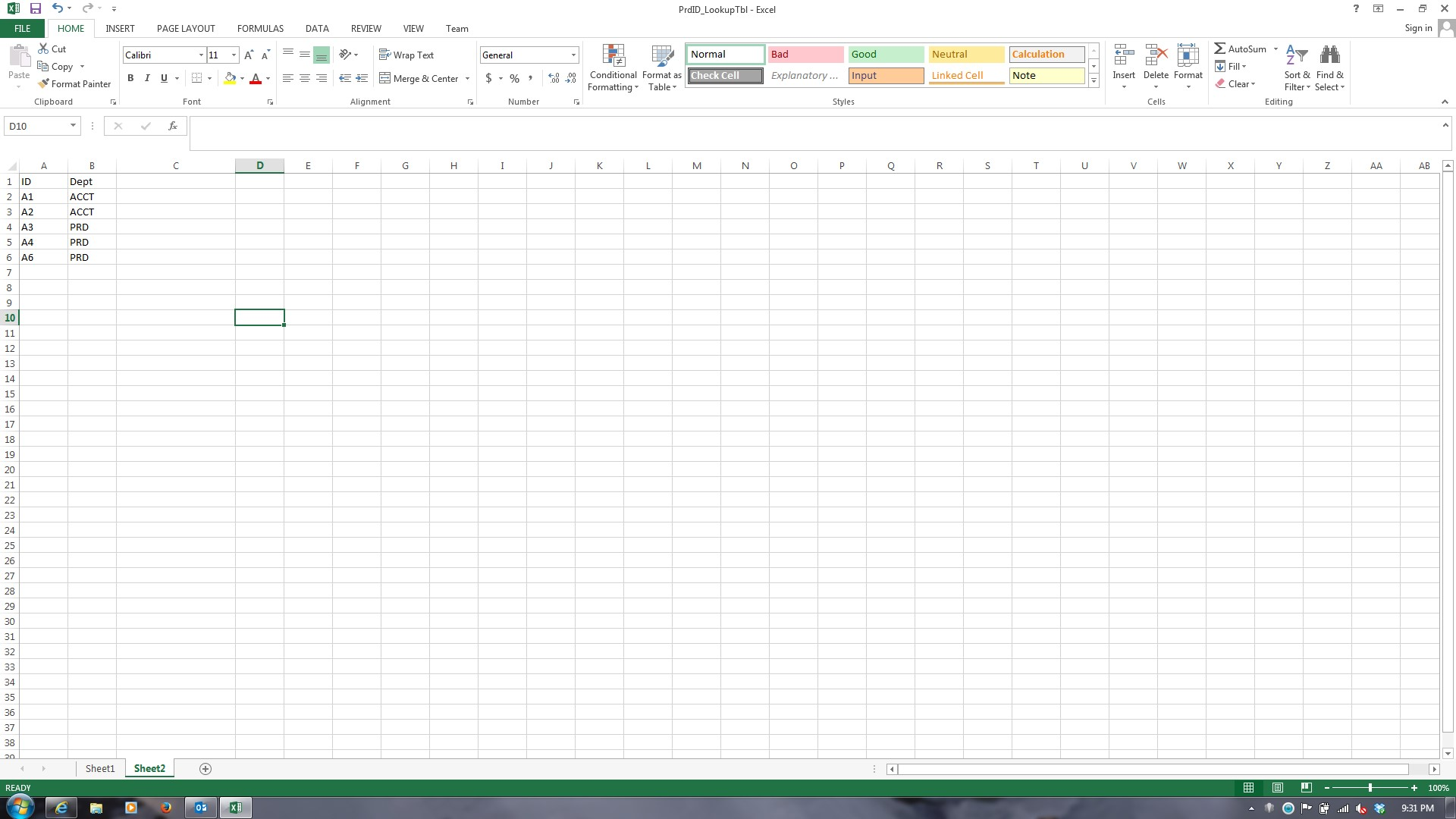 Excel Comparing Two Column Value