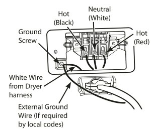 cord and plug  White wire when changing from 4 prong to 3