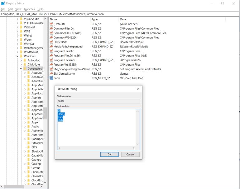 My registry key for testing
