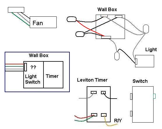 electrical wiring leviton timer to bath fan and switch to light