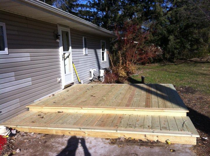 low deck built half on a concrete slab