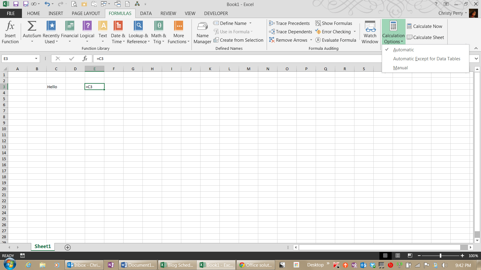 Excel Not Showing Formula Result On Sheet But F9 Shows Correct Value