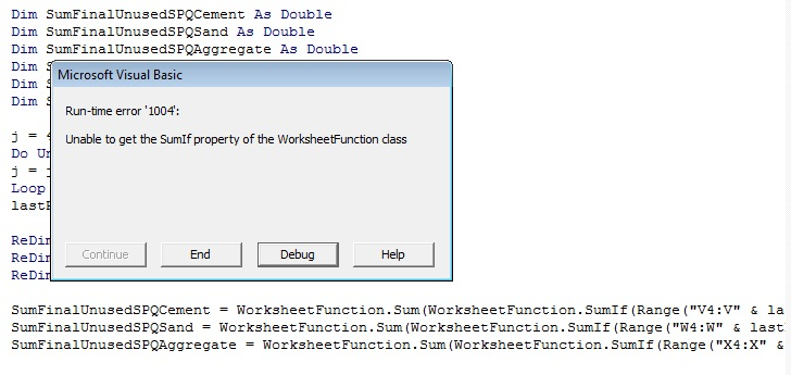 Excel Unable To Get The Sumif Property Of The