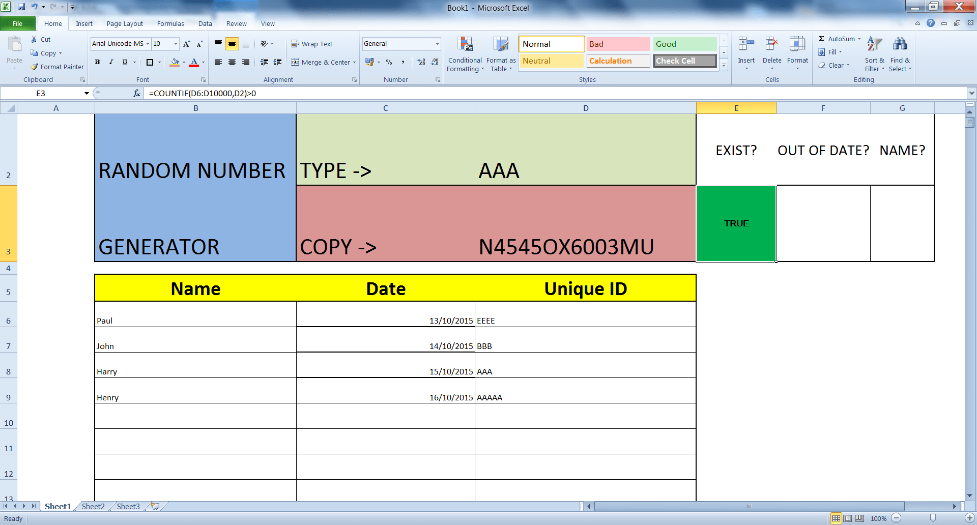 Validating Excel Values Via A Unique Id While Also Fetching The Date And Name Of A Record