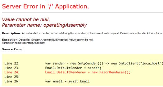 ASP.Net MVC FluentEmail.Razor Error