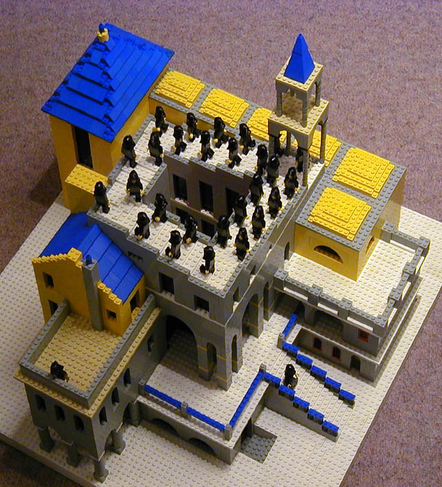 building   Lego Escher structures   Bricks Lego Escher Staircase