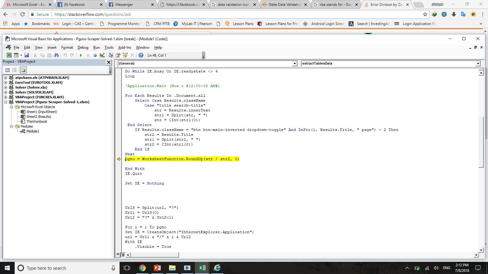 Error Division By Zero In Excel Vba