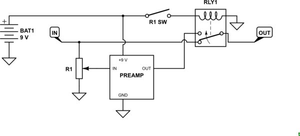 potentiometer with spst switch wiring with bypass