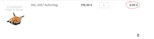 price subtotal is 0