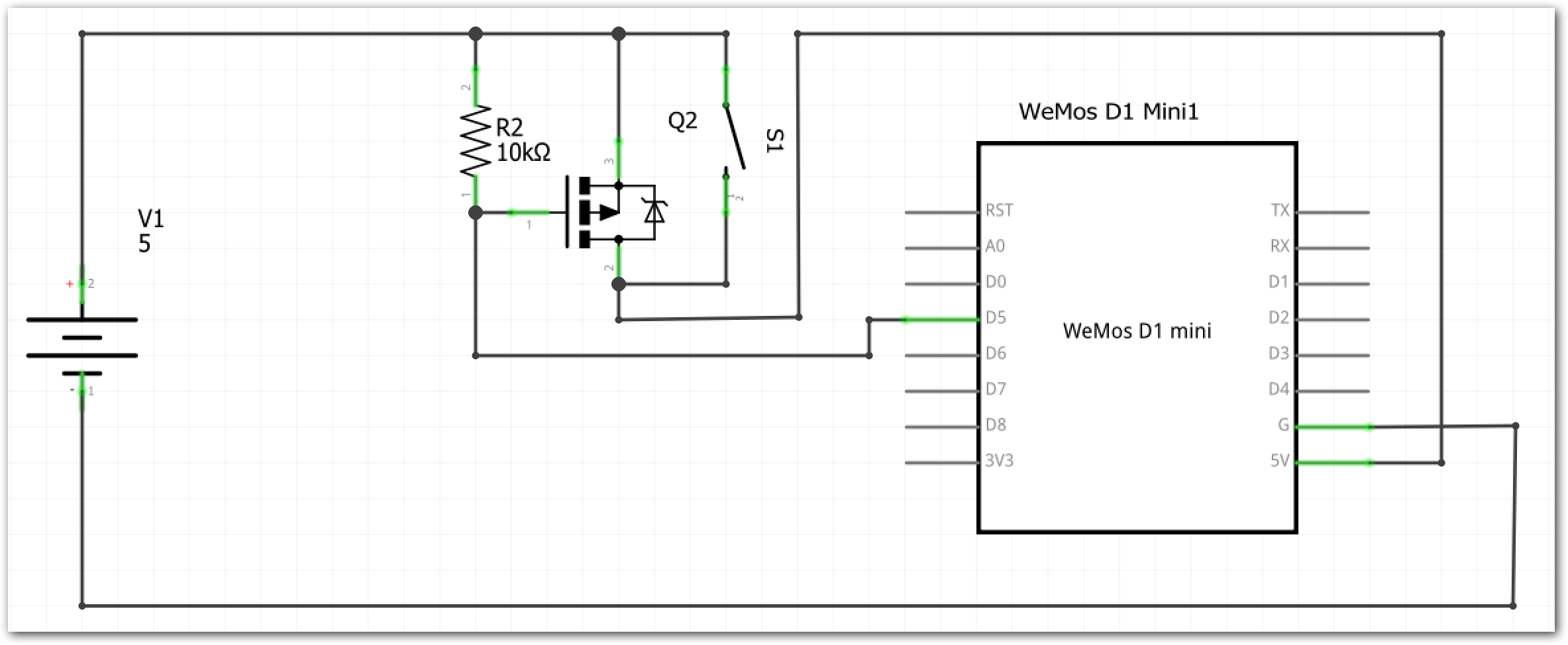 Controlling Wemos D1 Power With P Channel Mosfet