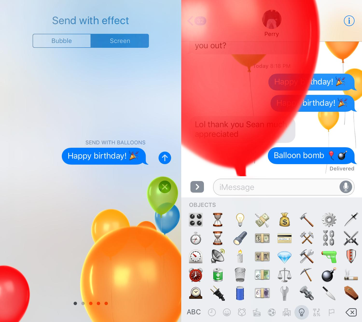 How Do I Do The Balloons Effect In Ios 10 S Messages Ask Different