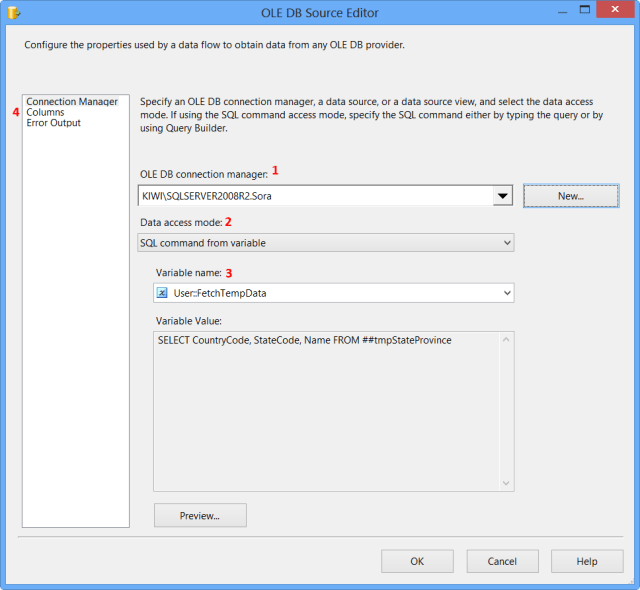 OLE DB Source Editor - Connection Manager