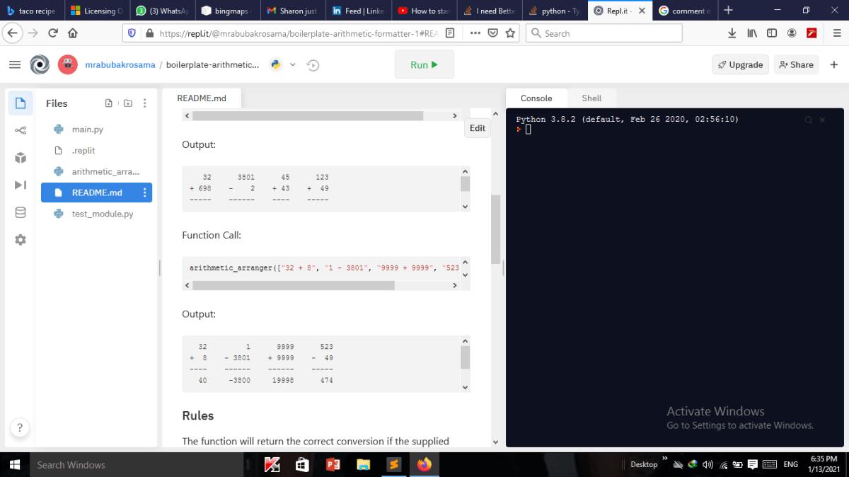 Output should look like so