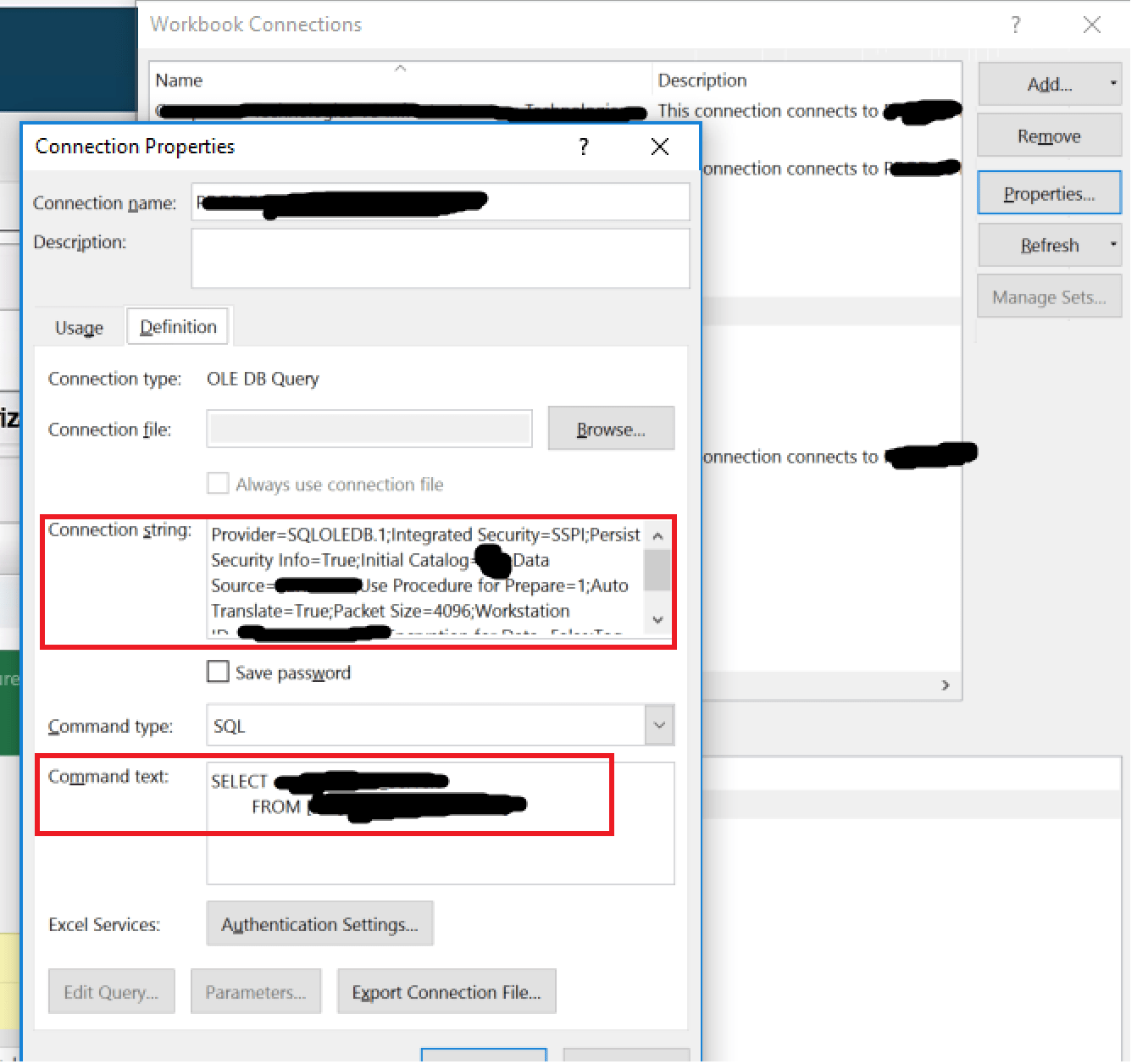 Use Powershell To Get Excel Data Connection S Sql Command