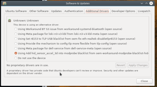 Screenshot of my additional drivers tab